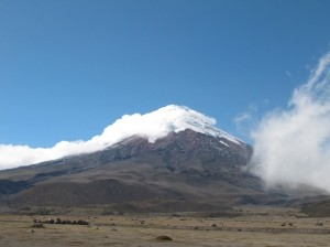 Cotopaxi volcano in clouds