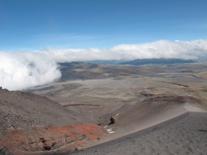 View back while approaching Cotopaxi